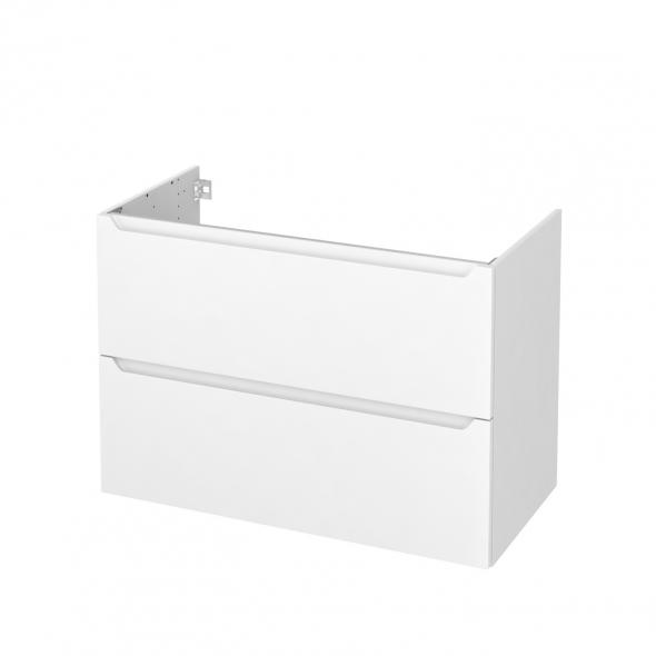 Meuble de salle de bains - Sous vasque - PIMA Blanc - 2 tiroirs - Côtés blancs - L100 x H70 x P50 cm