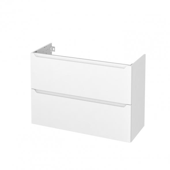 Meuble de salle de bains - Sous vasque - PIMA Blanc - 2 tiroirs - Côtés décors - L100 x H70 x P40 cm