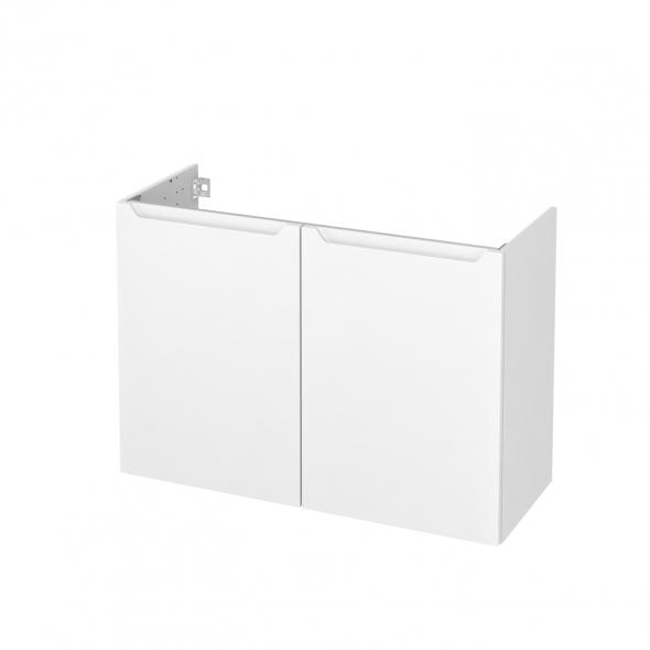 Meuble de salle de bains - Sous vasque - PIMA Blanc - 2 portes - Côtés décors - L100 x H70 x P40 cm