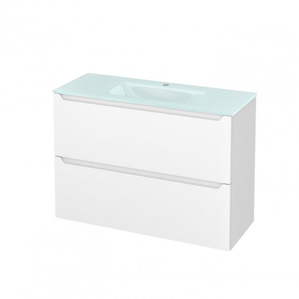 Meuble de salle de bains - Plan vasque EGEE - PIMA Blanc - 2 tiroirs - Côtés blancs - L100,5 x H71,2 x P40,5 cm