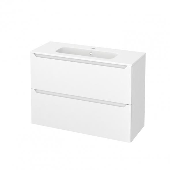 Meuble de salle de bains - Plan vasque REZO - PIMA Blanc - 2 tiroirs - Côtés blancs - L100,5 x H71,5 x P40,5 cm