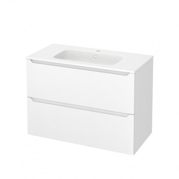 Meuble de salle de bains - Plan vasque REZO - PIMA Blanc - 2 tiroirs - Côtés blancs - L100,5 x H71,5 x P50,5 cm