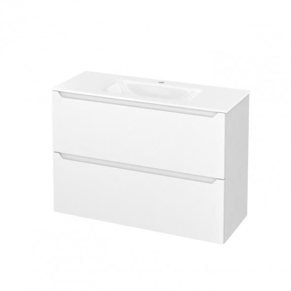 Meuble de salle de bains - Plan vasque VALA - PIMA Blanc - 2 tiroirs - Côtés blancs - L100,5 x H71,2 x P40,5 cm