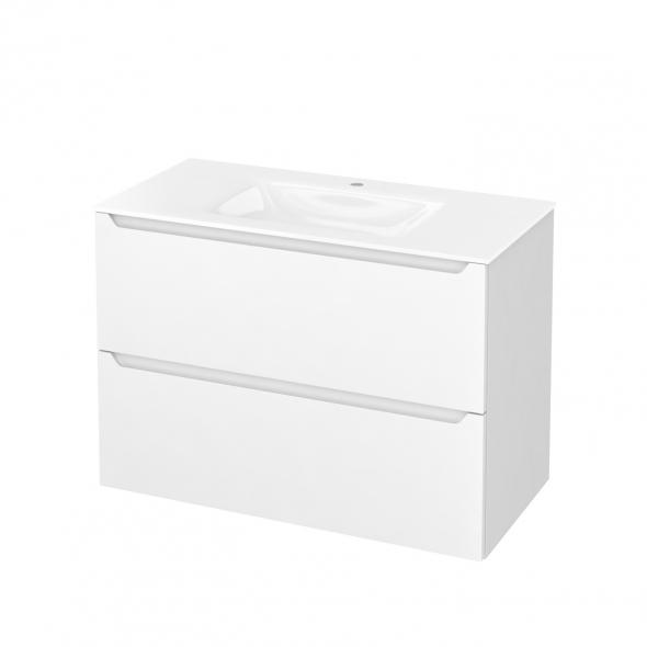 Meuble de salle de bains - Plan vasque VALA - PIMA Blanc - 2 tiroirs - Côtés blancs - L100,5 x H71,2 x P50,5 cm