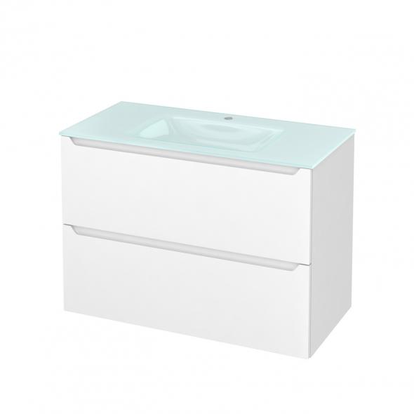Meuble de salle de bains - Plan vasque EGEE - PIMA Blanc - 2 tiroirs - Côtés décors - L100,5 x H71,2 x P50,5 cm