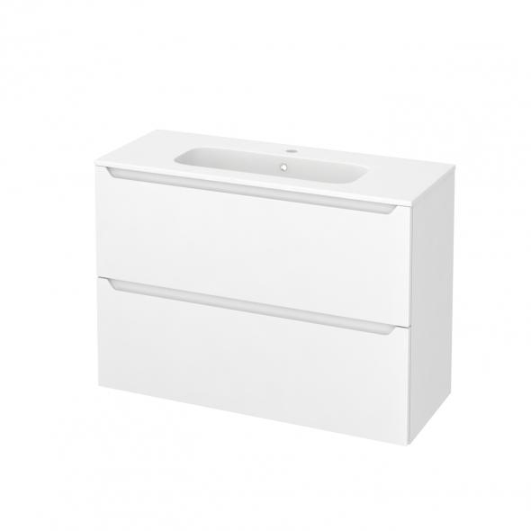 Meuble de salle de bains - Plan vasque REZO - PIMA Blanc - 2 tiroirs - Côtés décors - L100,5 x H71,5 x P40,5 cm