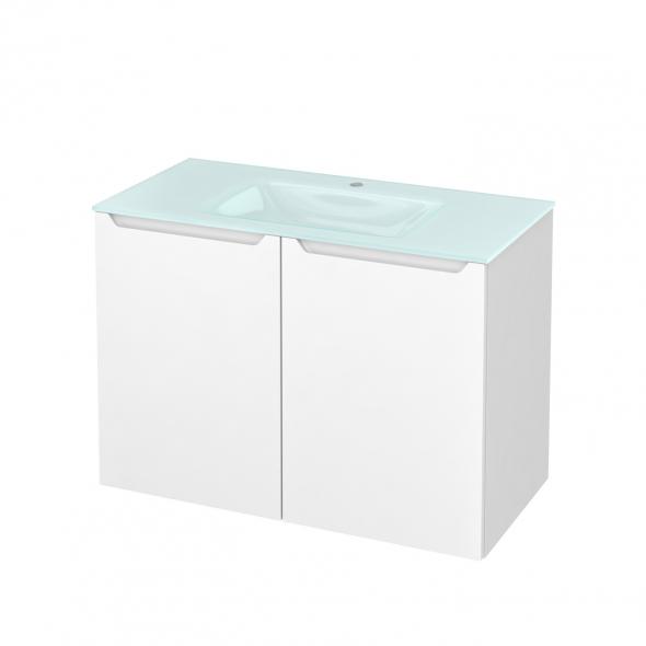 Meuble de salle de bains - Plan vasque EGEE - PIMA Blanc - 2 portes - Côtés blancs - L100,5 x H71,2 x P50,5 cm