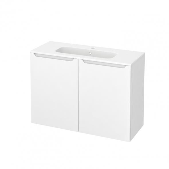 Meuble de salle de bains - Plan vasque REZO - PIMA Blanc - 2 portes - Côtés blancs - L100,5 x H71,5 x P40,5 cm