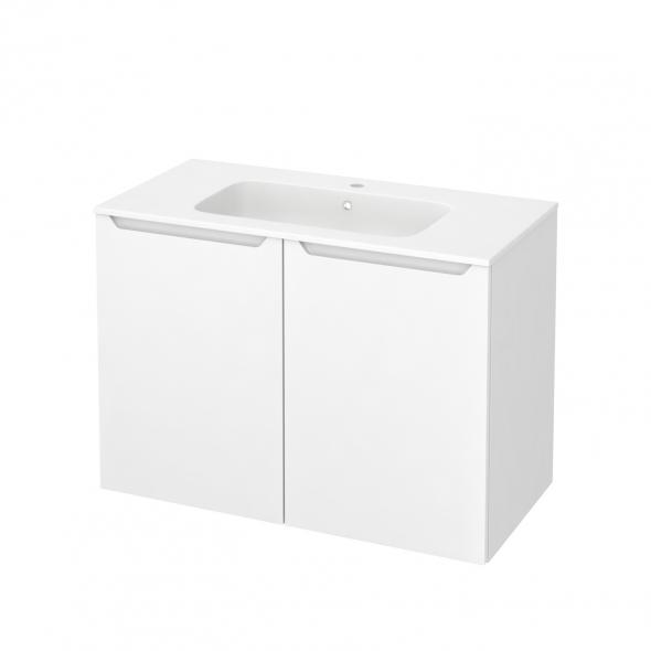 Meuble de salle de bains - Plan vasque REZO - PIMA Blanc - 2 portes - Côtés blancs - L100,5 x H71,5 x P50,5 cm