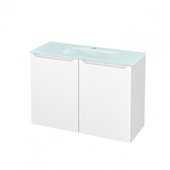 Meuble de salle de bains - Plan vasque EGEE - PIMA Blanc - 2 portes - Côtés décors - L100,5 x H71,2 x P40,5 cm