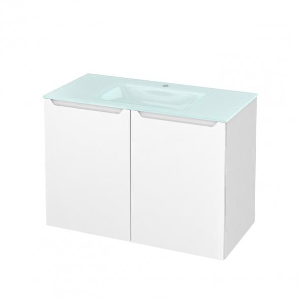 Meuble de salle de bains - Plan vasque EGEE - PIMA Blanc - 2 portes - Côtés décors - L100,5 x H71,2 x P50,5 cm