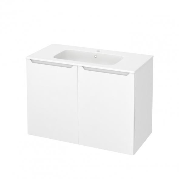 PIMA Blanc - Meuble salle de bains N°712 - Vasque REZO - 2 portes  - L100,5xH71,5xP50,5