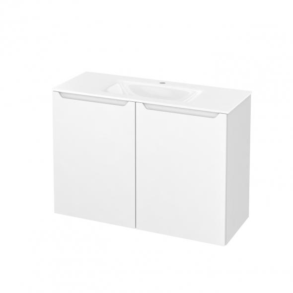 PIMA Blanc - Meuble salle de bains N°712 - Vasque VALA - 2 portes Prof.40 - L100,5xH71,2xP40,5