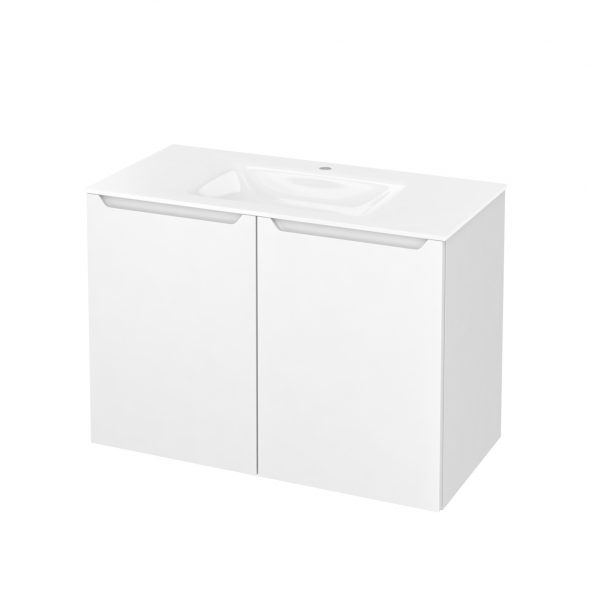Meuble de salle de bains - Plan vasque VALA - PIMA Blanc - 2 portes - Côtés décors - L100,5 x H71,2 x P50,5 cm