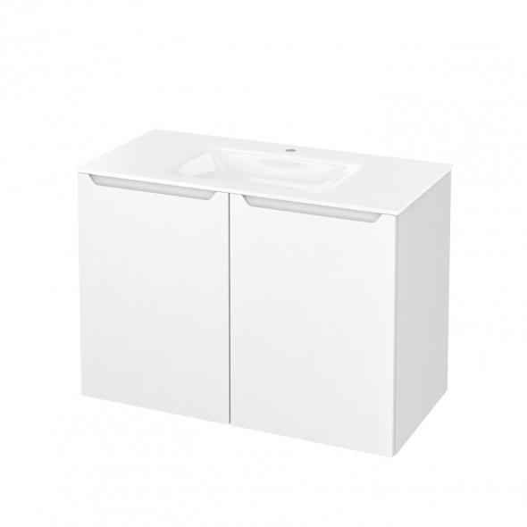 PIMA Blanc - Meuble salle de bains N°712 - Vasque VALA - 2 portes  - L100,5xH71,2xP50,5