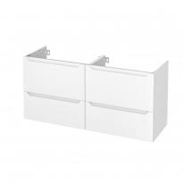 PIMA Blanc - Meuble sous vasque N°672 - Côté décor - Double vasque - 4 tiroirs prof.40 - L120xH57xP40