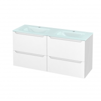 PIMA Blanc - Meuble salle de bains N°671 - Double vasque EGEE - 4 tiroirs Prof.40 - L120,5xH58,2xP40,5