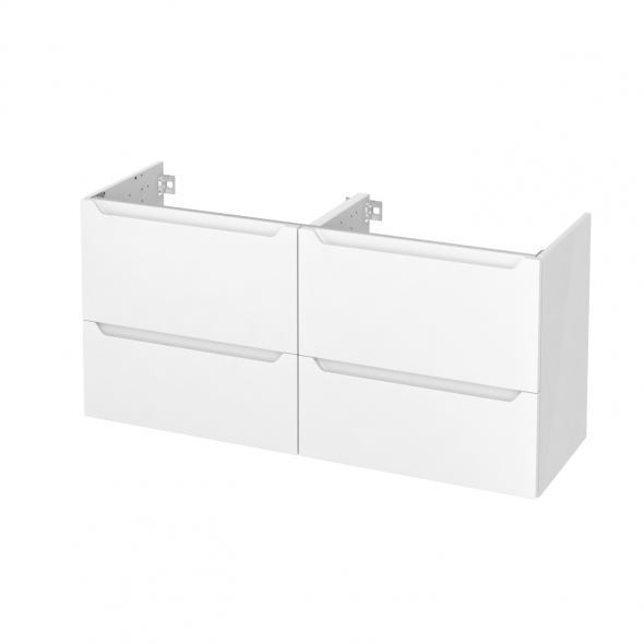 Meuble de salle de bains - Sous vasque double - PIMA Blanc - 4 tiroirs - Côtés blancs - L120 x H57 x P40 cm