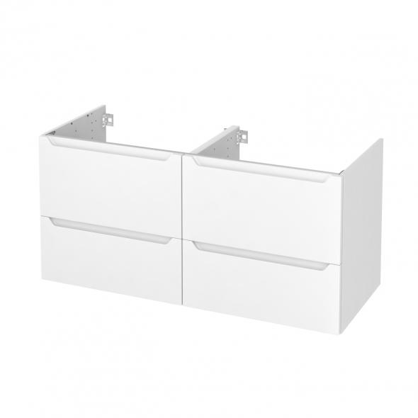 PIMA Blanc - Meuble sous vasque N°672 - Côté décor - Double vasque - 4 tiroirs - L120xH57xP50