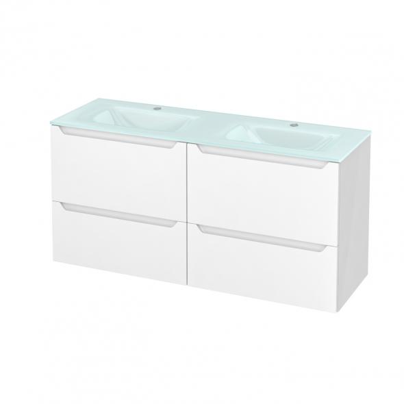 Meuble de salle de bains - Plan double vasque EGEE - PIMA Blanc - 4 tiroirs - Côtés blancs - L120,5 x H58,2 x P40,5 cm