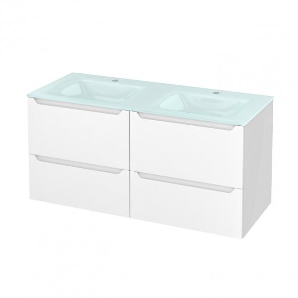 Meuble de salle de bains - Plan double vasque EGEE - PIMA Blanc - 4 tiroirs - Côtés blancs - L120,5 x H58,2 x P50,5 cm