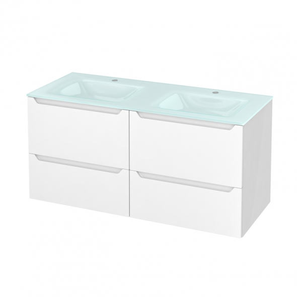 PIMA Blanc - Meuble salle de bains N°671 - Double vasque EGEE - 4 tiroirs  - L120,5xH58,2xP50,5