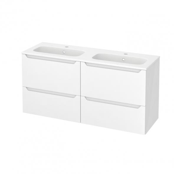 PIMA Blanc - Meuble salle de bains N°671 - Double vasque REZO - 4 tiroirs Prof.40 - L120,5xH58,5xP40,5