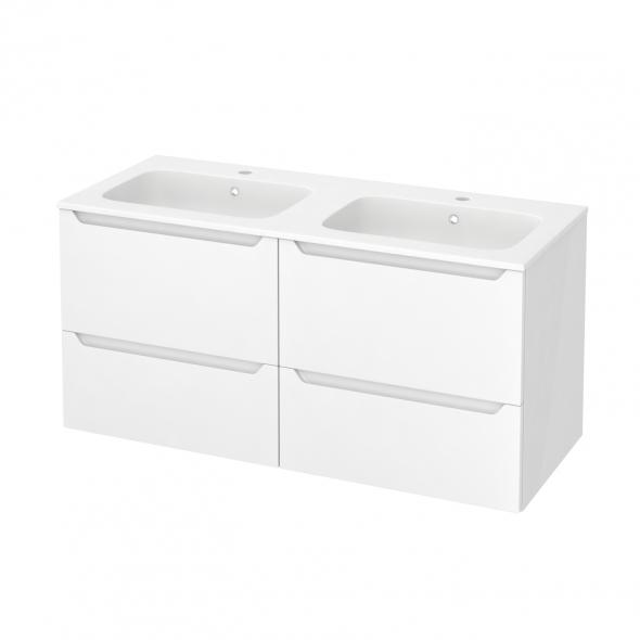 Meuble de salle de bains - Plan double vasque REZO - PIMA Blanc - 4 tiroirs - Côtés blancs - L120,5 x H58,5 x P50,5 cm
