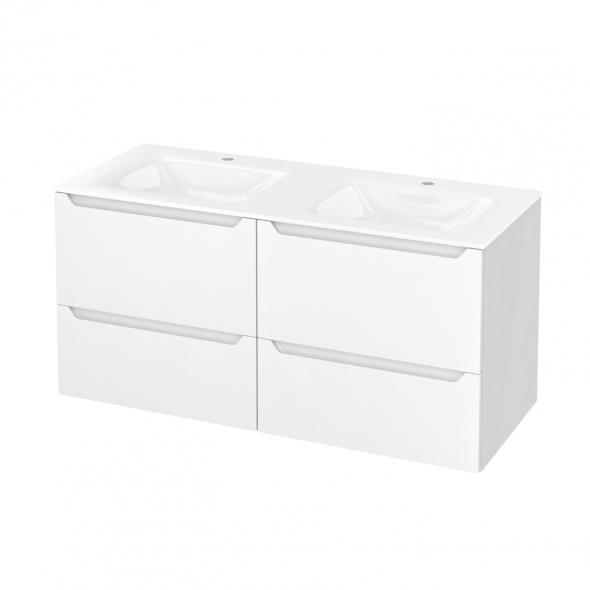Meuble de salle de bains - Plan double vasque VALA - PIMA Blanc - 4 tiroirs - Côtés blancs - L120,5 x H58,2 x P50,5 cm