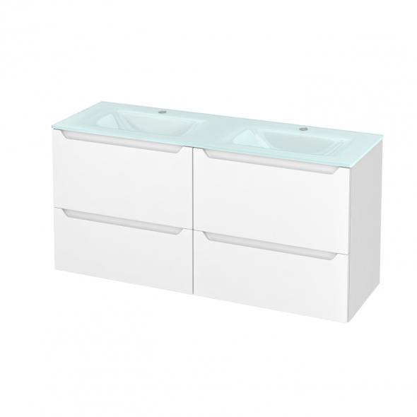 Meuble de salle de bains - Plan double vasque EGEE - PIMA Blanc - 4 tiroirs - Côtés décors - L120,5 x H58,2 x P40,5 cm
