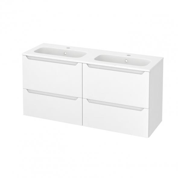 Meuble de salle de bains - Plan double vasque REZO - PIMA Blanc - 4 tiroirs - Côtés décors - L120,5 x H58,5 x P40,5 cm
