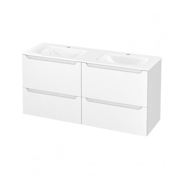 Meuble de salle de bains - Plan double vasque VALA - PIMA Blanc - 4 tiroirs - Côtés décors - L120,5 x H58,2 x P40,5 cm