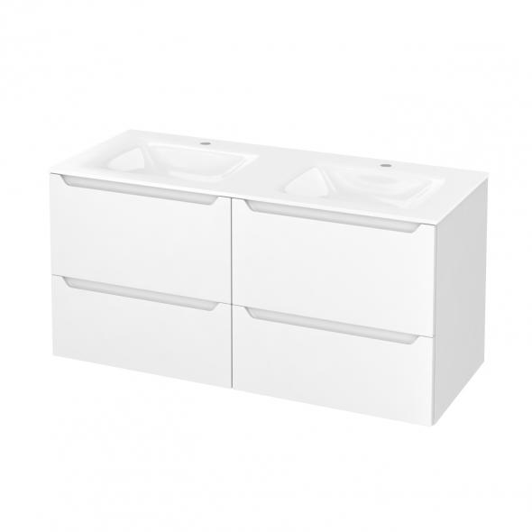 PIMA Blanc - Meuble salle de bains N°672 - Double vasque VALA - 4 tiroirs  - L120,5xH58,2xP50,5