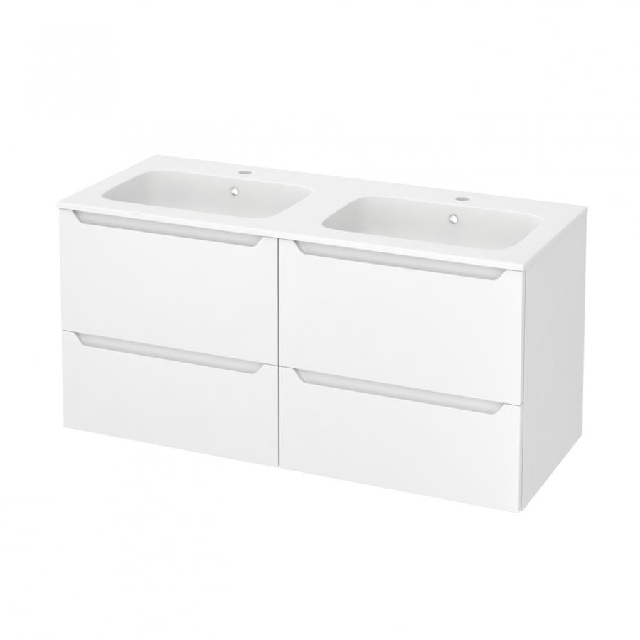 Meuble de salle de bains plan double vasque rezo pima for Horizon meuble de salle de bain 59 cm blanc