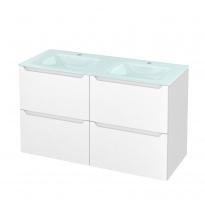 Meuble de salle de bains - Plan double vasque EGEE - PIMA Blanc - 4 tiroirs - Côtés décors - L120,5 x H71,2 x P50,5 cm