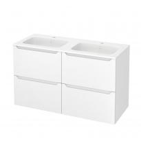 Meuble de salle de bains - Plan double vasque REZO - PIMA Blanc - 4 tiroirs - Côtés décors - L120,5 x H71,5 x P50,5 cm