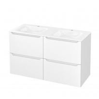 Meuble de salle de bains - Plan double vasque VALA - PIMA Blanc - 4 tiroirs - Côtés décors - L120,5 x H71,2 x P50,5 cm