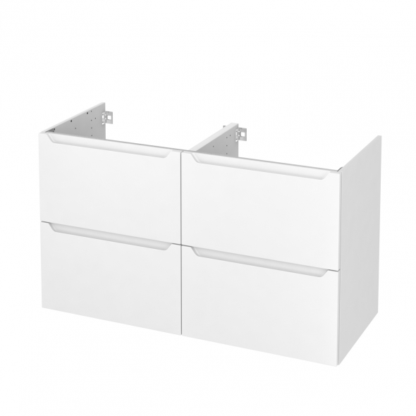 PIMA Blanc - Meuble sous vasque N°722 - Côté décor - Double vasque - 4 tiroirs - L120xH70xP50