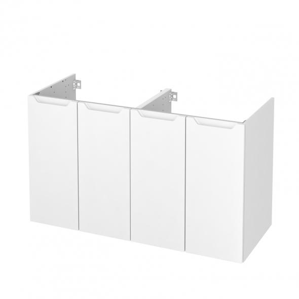 PIMA Blanc - Meuble sous vasque N°732 - Côté décor - Double vasque - 4 portes - L120xH70xP50