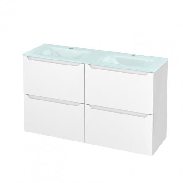 PIMA Blanc - Meuble salle de bains N°721 - Double vasque EGEE - 4 tiroirs Prof.40 - L120,5xH71,2xP40,5