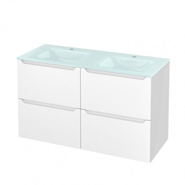Meuble de salle de bains - Plan double vasque EGEE - PIMA Blanc - 4 tiroirs - Côtés blancs - L120,5 x H71,2 x P50,5 cm