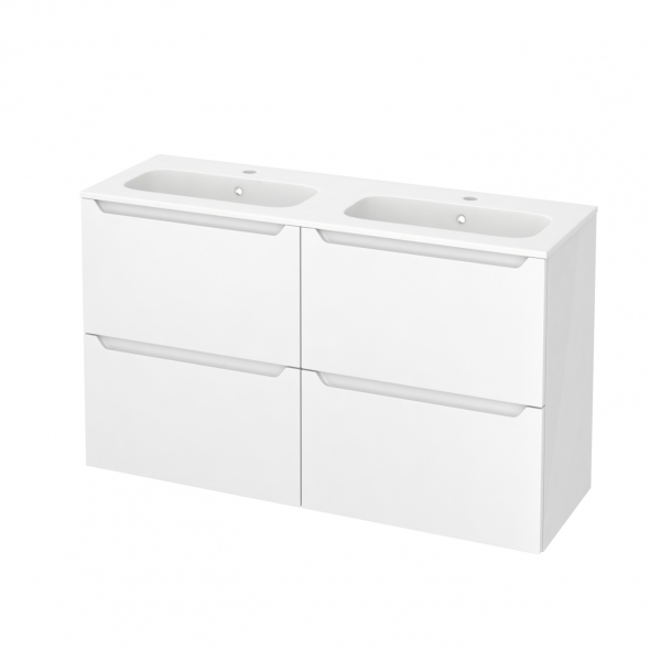 PIMA Blanc - Meuble salle de bains N°721 - Double vasque REZO - 4 tiroirs Prof.40 - L120,5xH71,5xP40,5