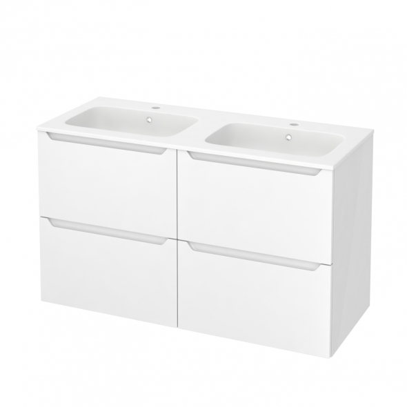 Meuble de salle de bains - Plan double vasque REZO - PIMA Blanc - 4 tiroirs - Côtés blancs - L120,5 x H71,5 x P50,5 cm