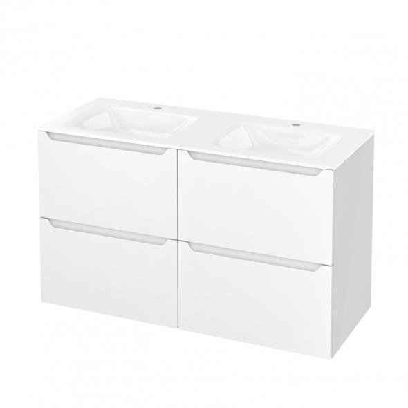 Meuble de salle de bains - Plan double vasque VALA - PIMA Blanc - 4 tiroirs - Côtés blancs - L120,5 x H71,2 x P50,5 cm