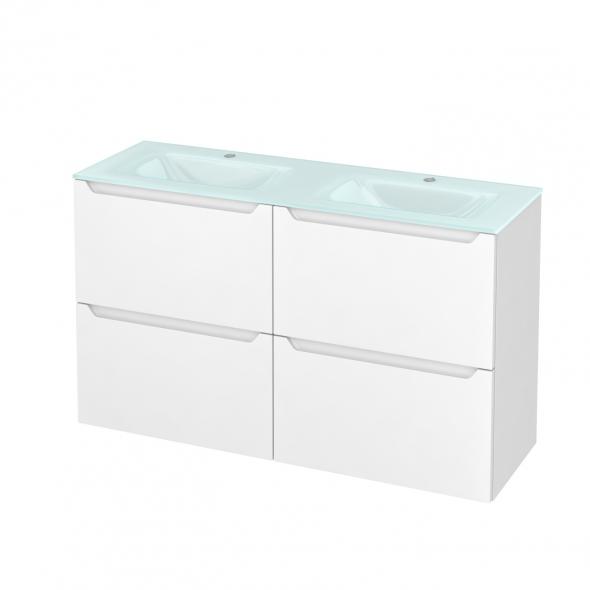Meuble de salle de bains - Plan double vasque EGEE - PIMA Blanc - 4 tiroirs - Côtés décors - L120,5 x H71,2 x P40,5 cm