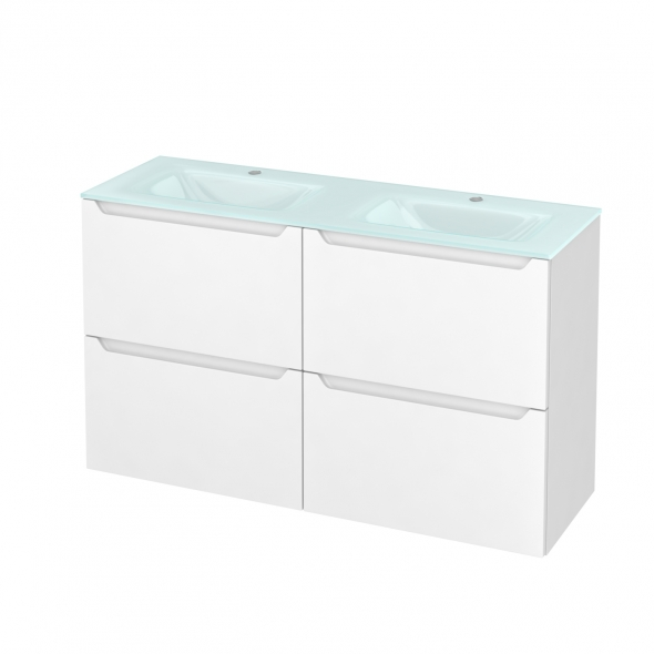 PIMA Blanc - Meuble salle de bains N°722 - Double vasque EGEE - 4 tiroirs Prof.40 - L120,5xH71,2xP40,5