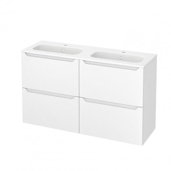 Meuble de salle de bains - Plan double vasque REZO - PIMA Blanc - 4 tiroirs - Côtés décors - L120,5 x H71,5 x P40,5 cm