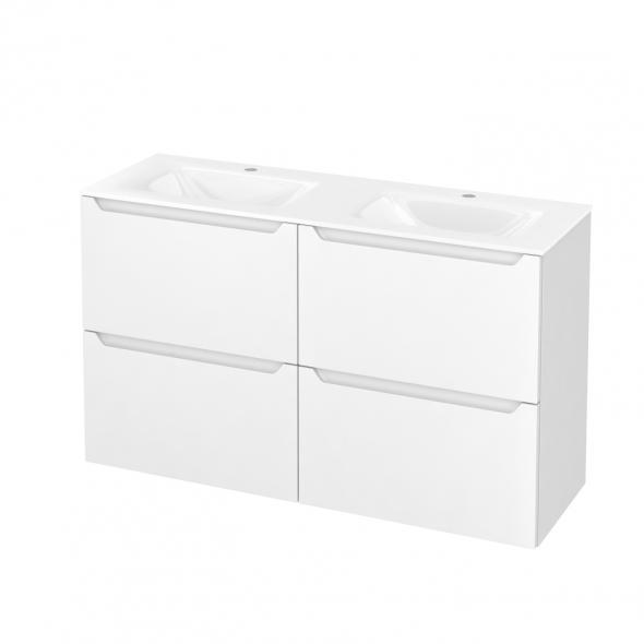 Meuble de salle de bains - Plan double vasque VALA - PIMA Blanc - 4 tiroirs - Côtés décors - L120,5 x H71,2 x P40,5 cm