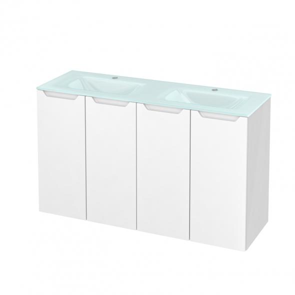 Meuble de salle de bains - Plan double vasque EGEE - PIMA Blanc - 4 portes - Côtés blancs - L120,5 x H71,2 x P40,5 cm