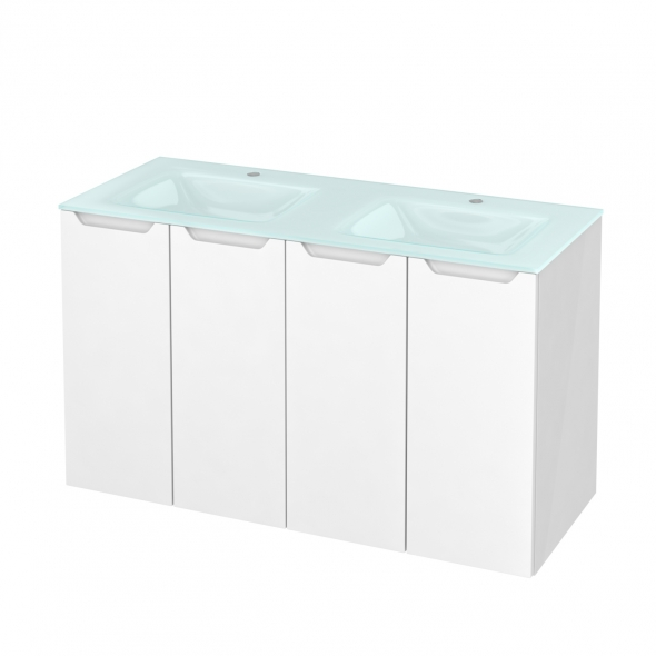 Meuble de salle de bains - Plan double vasque EGEE - PIMA Blanc - 4 portes - Côtés blancs - L120,5 x H71,2 x P50,5 cm